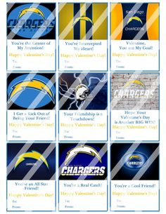 San Diego Chargers Valentines Day Cards Sheet #4 (instant download or printed)