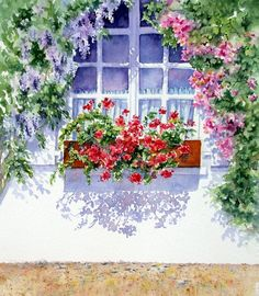How inviting with this pastel watercolor painting opening up a window a breath of fresh air to spring time with flowers, Ann Mortimer Watercolor Landscape, Watercolour Painting, Watercolor Flowers, Painting & Drawing, Watercolors, Art Floral, Pinterest Arte, Art Aquarelle, Love Art