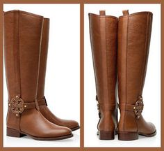 Tory Burch  Amanda Riding Boots Tumbled Leather in  Almond Color