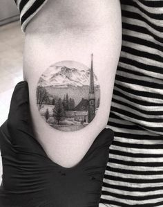 Small Town Landscape Tattoo by Doctor Woo