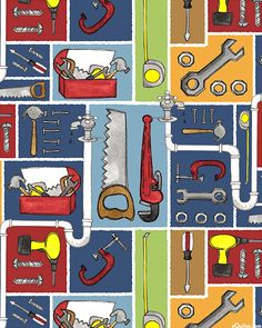 Tool Box - Plumber & Electrician Beware! -  Quilt Fabrics from www.eQuilter.com
