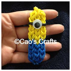 Despicable Me Minion Loom Bracelet - Yellow and Blue with White OR Black Around the Eye