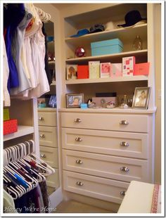 Dresser drawers & shelves in walk-in closet..I love this!! (and click on the link to see the rest of the closet--holy moly!!--what a closet!!!)