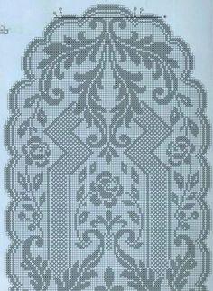 Crochet Patterns Filet, Crochet Table Runner Pattern, Crochet Tablecloth, Crochet Diagram, Crochet Motif, Crochet Doilies, Crochet Stitches, Cross Stitch Patterns, Oval Tablecloth