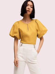 Kate Spade Puff Sleeve Poplin Blouse In Chartreuse Girl Fashion, Fashion Outfits, Ruffle Collar, Ruffle Blouse, Work Tops, Short Sleeve Blouse, Blouse Designs, Poplin, Blouses For Women
