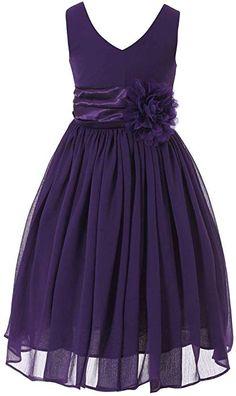 40184bc3dec10 Bow Dream Flower Girl Dress bridesmaid V-Neckline Chiffon Purple The dress  is made of high quality Chiffon .excellent workmanship with big flower