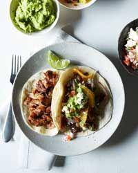 Oven-Fried Pork Carnitas with Guacamole and Orange Salsa Recipe