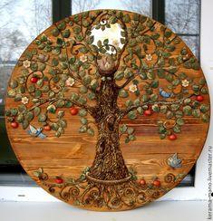 """Tree of Life"". 3d Wall Art, Tree Wall Art, Tree Art, Feng Shui Money Tree, Old Jewelry Crafts, Wood Slice Crafts, Clay Crafts, Arts And Crafts, Coin Art"