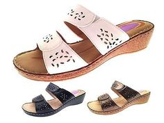 Womens Low Wedge Comfort Sandals Strappy Mules Ladies Summer Shoes Size UK 3-8