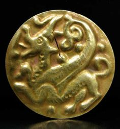 "Scythian Gold Plaque - OS.242  Origin: Central Asia  Circa: 500 BC to 400 BC  Dimensions: 1.30"" (3.3cm) wide  Collection: Near Eastern Art  Medium: Gold"