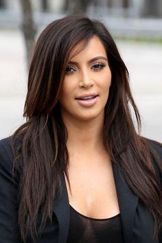 Kim Kardashian Balayage-- Exactly what I want with black/dark brown base and chocolate brown balayage!!!!