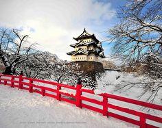 Hirosaki Castle in winter, Japan