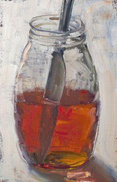 """Jar of Honey with Knife, 2/9/2015"" by Duane Keiser #Realism"
