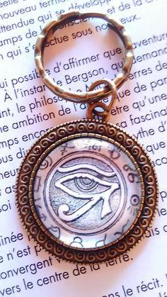Porte clé avec cabochon en verre 25 mm Oeil d'Horus : Porte clés par…