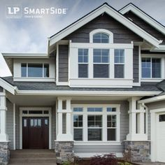 Brown house with white trim and blue door photos home in - Benjamin moore exterior paint visualizer ...