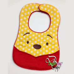 Honey Bear Bib ITH Embroidery Design