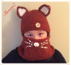 Kitty Cat Set / Crochet Hat and Cowl Set by ShevonL on Etsy Burnt Orange, Cowl, Crochet Hats, Dark, Trending Outfits, Unique Jewelry, Handmade Gifts, Etsy, Vintage
