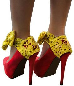Red and yellow lace heels Yellow Heels, Yellow Lace, Divergent Outfits, Red Spice, Orange Palette, Lace Heels, Mellow Yellow, Red Color, Peep Toe