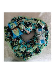 Look WHO'S New Too!  Owl Themed Diaper Wreath Baby Shower Gift for Baby Boy!