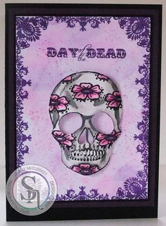 Designed by Lesley McCloskey. Sheena's Day of the Dead Sugar Skull stamp and die set. Coloured with Spectrum Aqua blend pencils - plum red, wild orchid, crocus & gunmetal. Background made using Sheena's stamping card and plum red, wild orchid and crocus Spectrum Aqua blend pencils. #spectrumnoir #dayofthedead #sheenadouglass