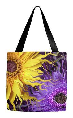 Purple and Yellow Daisy Art Tote Bag - Daisy Yin Daisy Yang