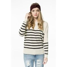 Beige & black half striped sweater