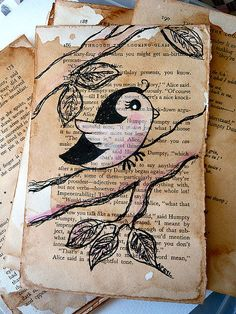 art journal inspiration - cute bird art on old book page - Lovely!
