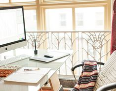 bright, simple, and clean office with the beautiful ironwork