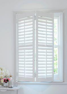 Hybrawood Shutters in UK - Custom Wooden Shutters Wooden Shutter Blinds, White Wooden Blinds, Wooden Window Shutters, Interior Window Shutters, Interior Windows, Bedroom Windows, White Shutter Blinds, Outside Window Shutters, Bedroom Shutters