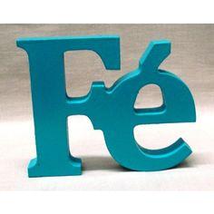 Artefatos de Madeira - Artesanato de Madeira Palavra FÉ Azul Pequeno 18mm Mdf - Palavras e Letras | Arte Bello