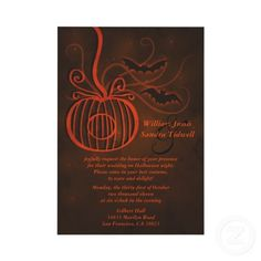 Elegant invitation with pumpkin and bat detailing