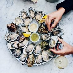 This five-minute Champagne vinegar mignonette for oysters on the half shell is flavored with celery and cucumber. Get the recipe at Food & Wine.