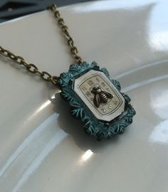 Steampunk verdigris pendant vintage watch face bee by GinnyandJess, $25.00