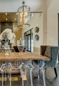 acrylic dining room chairs. Contemporary Dining Room With Beautiful Sheer Curtains - Ripple Fold Pleating | Pinterest Rooms, And Acrylic Chairs