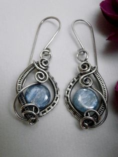 Wire Wrapped Earrings, Blue Kyanite in Oxidized Sterling Silver, Handmade Wire Weaved Jewelry, Antiqued Jewelry