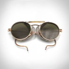 Fancy - 12K Gold Mesh Trimmed Aviators by Thom Browne