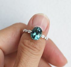 Large Oval Teal Sapphire Engagement Ring, Blue Green Sapphire Ring, Sapphire Diamond Engagement Ring by Minimalvs Green Sapphire Ring, Sapphire Diamond Engagement, Sapphire Bracelet, Natural Sapphire, Ring Set, Ring Verlobung, Blue Rings, Vintage Engagement Rings, Teal Engagement Ring