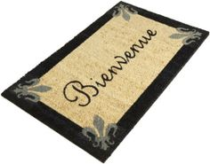 """DII Fleur de Lis """"Bienvenue"""" Coir Doormat with Vinyl Back by DII. $24.99. Includes 1 DII Fleur de Lis """"Bienvenue"""" coir doormat with vinyl Back; 18-inch by 30-inch. Handsome finish to your front porch. See all of Design Imports great kitchen, home, and gift products. Shake briskly to clean. DII """"Bienvenue"""" doormat features Fleur de lis trim on natural background mat. Coir with Vinyl back. 18-inch by 30-inch."""