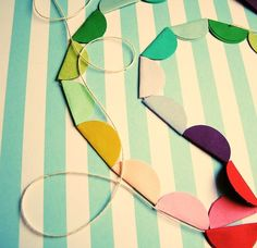 ( Drink Flags , DIY Ruffle Lantern , paper bunting ) You gotta love how American's come up with at least a few holiday's (aka excuses to ce. Paper Bunting, Bunting Garland, Diy Garland, Circle Garland, Diy Craft Projects, Crafts For Kids, Arts And Crafts, Paper Crafts, Diy Crafts