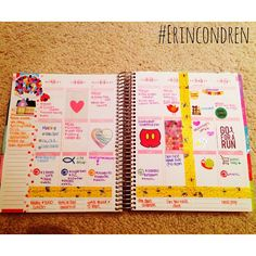 """""""Weekly planning in my @erincondren planner ❤️ Love all the Disney stickers I've found on Etsy! The newest are the Disney castle ones & grocery cart…"""""""