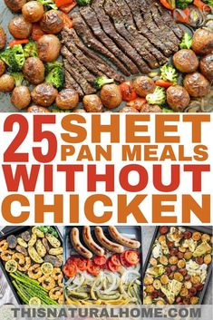 These awesome sheet pan meals are made without chicken! Trust me, you're gonna love them. These awesome sheet pan meals are made without chicken! Trust me, you're gonna love them. Healthy Meal Prep, Healthy Dinner Recipes, Cooking Recipes, Easy Healthy Weeknight Dinners, Whole 30 Easy Recipes, Healthy Kid Friendly Dinners, Weekly Meal Prep, Quick Meals For Dinner, Weekday Dinner Ideas