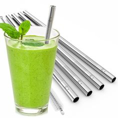 Eco at Heart Smoothie Straws - 5pk Reusable Stainless Steel Metal Drinking Straws and Cleaning Brush