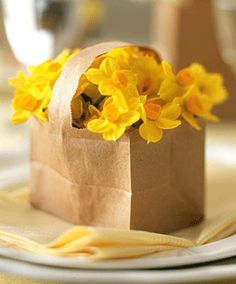 yellow flowers in a brown bag..simply beautiful..