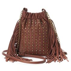 Mudd® Long Fringe & Studded Crossbody Bag, Women's, Med Brown
