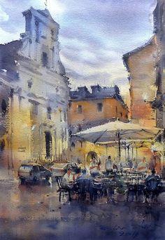 Direk Kingnok Watercolor artist   Trastevere, Roma, Italy.