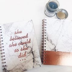 Marble and rose gold inspirational notebooks   #marble #rosegold #copper #inspirational #stationary