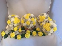 Bridal BUNDLE Bouquet Grey, Yellow and White Bridal Sparkle Pins wedding artificial Foam roses flowers
