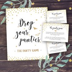 Panty Game, Drop Your Panties, Bridal Shower Games, Bachelorette Party Game, Sexy lingerie, Printable Wedding Shower, Instant Download, Gold by PineappleDesignCo on Etsy https://www.etsy.com/listing/457844916/panty-game-drop-your-panties-bridal