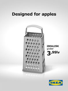 The new Apple Mac Pro was presented some days ago and people soon noticed that it looks like a grater. IKEA reacted with an offer. IKEA Designed for Apples Apple Advertising, Creative Advertising, Print Advertising, Print Ads, Ads Creative, Creative Posters, Advertising Agency, Creative Director, Creative Ideas