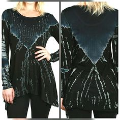VOCAL LONG TIE DYE VEST WITH FRINGE /& CRYSTALS IN BLUE OR CHARCOAL GRAY S M L XL